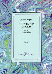 Cover image of The Temple of Glas: the title on a light blue square, over a multicolored swirled background