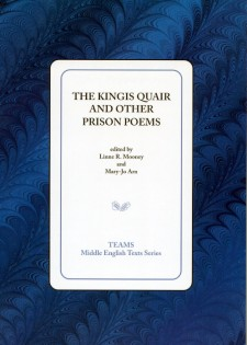 Cover image of The Kingis Quair and Other Prison Poems: the title on a white square, over a blue and black background
