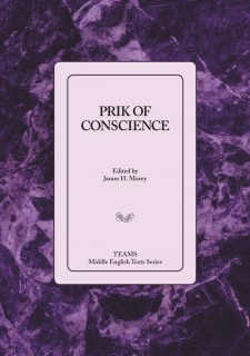Cover image of Prik of Conscience: the title on a light purple square, over a darker purple stone pattern