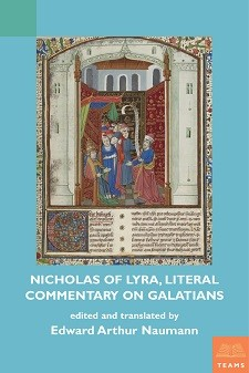 Cover image of Nicholas of Lyra, on Galatians: on a light blue background, the title in white block letters and an image from a medieval manuscript.