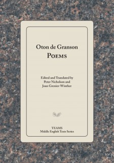 Cover of Oton de Granson: Poems: Title on a tan square, over a purplish granite-patterned background