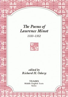 Cover image of The Poems of Laurence Minot, 1333-1352: the title on a white plaque, over a white and pink background of knotted foliage