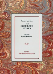 Cover image of Robert Henryson: The Complete Works: the title on a gray background, over an orange mottled background