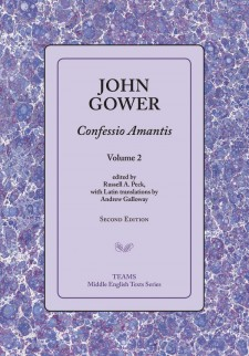 Cover image of John Gower: Confessio Amantis, vol. 2: the title on a lavender square, over a purple, mauve, and white speckled background.