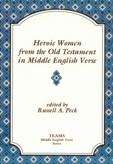 Cover image of Heroic Women from the Old Testament in Middle English Verse: the title in brown on a white plaque, over a background of blue and grey diamonds
