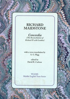 Cover image of Concordia: The Reconciliation of Richard II with London: the title on a light blue square, over a multicolored swirled background