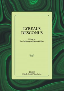 Cover image of Lybeaus Desconus: title on a pale green square, over a dark green and black swirled background