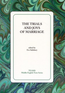 Cover image of The Trials and Joys of Marriage: the title on a white square, over a green and brown swirled background