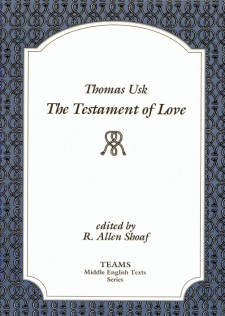 Cover image of Thomas Usk: The Testament of Love: the title on a white square, over a grey background with a repeated pattern of knots