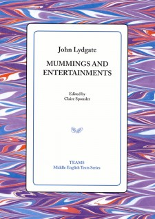 Cover image of Mummings and Entertainments: the title on a white square, over a purple, red, and blue mottled background