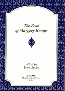 Cover image of The Book of Margery Kempe: the title on a white plaque, over a purple stylized foliate background