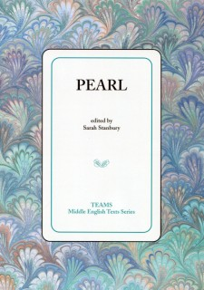 Cover image of Pearl: the title on a white square, over a pastel multicolored swirled background