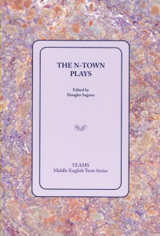 Cover image of The N-Town Plays: the cover on a light mauve background, over a purple, pink, and gold swirled background
