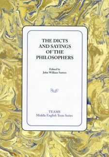 Cover image of The Dicts and Sayings of the Philosophers: the title on a white square, over a yellow, gold, and purple marbled background