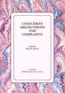 Cover image of Chaucerian Dream Visions and Complaints: the title on a white square, on a pink, blue, and white swirled background