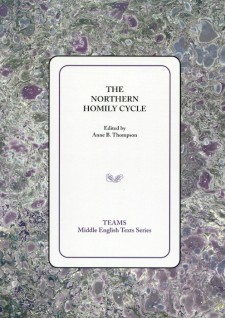 Cover image of The Northern Homily Cycle: the title on a white square, over a gray, blue, green, and purple mottled background
