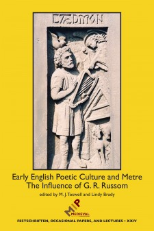 Cover of Early English Poetic Culture and Metre: The Influence of G. R. Russom: On a yellow background, an image of a carving of the Anglo-Saxon poet Caedmon