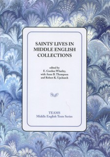 Cover image of Saints' Lives in Middle English Collections: the title on a white square, over a blue and white swirled background