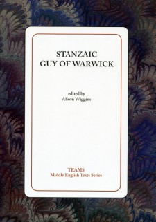 Cover image of Stanzaic Guy of Warwick: the title on a white square, over a dark blue, brown, and tan swirled background