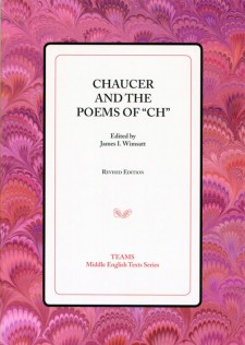 "Cover image of Chaucer and the Poems of ""Ch"": the title on a white square, over a pink and red swirled background"