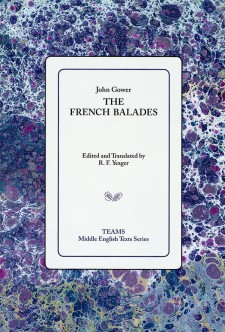Cover image of The French Balades: the title on a white square, over a mottled purple background.