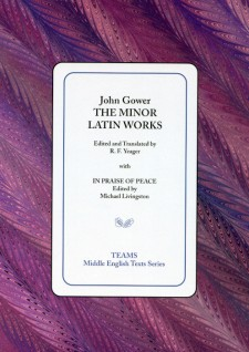 Cover image of The Minor Latin Works: the title on a white square, over a pink and purple swirled background
