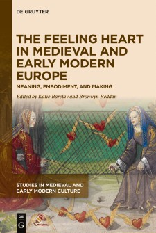 Cover image of The Feeling Heart in Medieval and Early Modern Europe: a late medieval image of two women interacting with winged hearts as if they were birds.