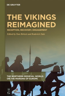Cover image of The Vikings Reimagined: Silhouettes of figures pointing, holding spears, and kneeling with swords against a light blue background.