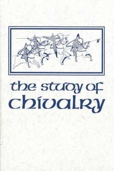 Cover image of The Study of Chivalry: Resources and Approaches: An image from the Bayeaux Tapestry of soldiers on horses, with the title in blue below on a white background.