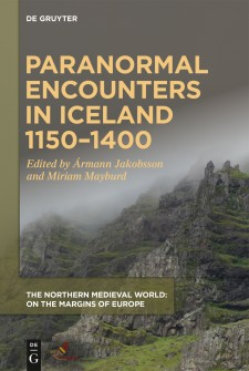 Cover image of Paranormal Encounters in Iceland 1150-1400: a fog-covered rocky headland, with the title above in goldenrod. Photo by Miriam Mayburd.