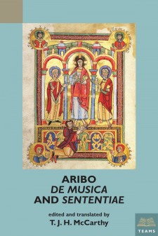 "Cover image of Aribo, ""De musica"" and ""Sententiae"": a religious illustration from a manuscript depicting three robed figures standing in stone archways."
