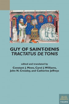 Cover image of Guy of Saint-Denis, Tractatus de tonis: an image from a manuscript of a monk preaching to a group of kneeling monks, with the title in dark blue below on a light blue background.
