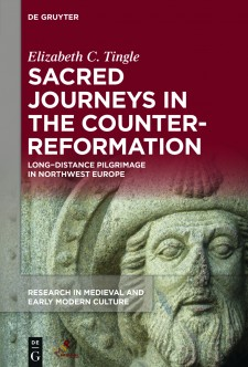 Cover image of Sacred Journeys in the Counter-Reformation: Long-Distance Pilgrimage in Northwest Europe: the face of a stone statue, with the title in white on a dark red background