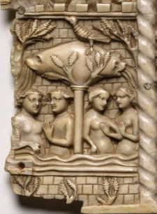 Panel from an Ivory Casket with Scenes from Courtly Romances, 1330-1350 or later. France, Lorraine?, Gothic period, 14th century. Image courtesy of the Cleveland Museum of Art.