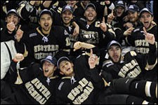Photo of Bronco hockey team after winning the CCHA Tournament.