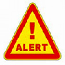 Image of a yellow triangle outlined in red with an exclamation point and the word alert.