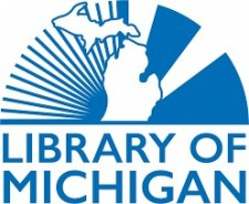 Illustration of the State of Michigan with the words Library of Michigan.