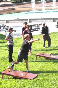 Image of bean bag toss at the APA 2015 summer social event.