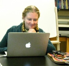 Grad student Katie Foote (NCSU) working on research