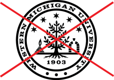 university seal with a red X overlaid