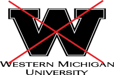 skewed university logo with a red X overlaid