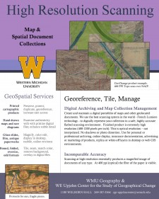 Picture of the front page of a flyer that describes, through text and map examples, the geospatial services provided by the W.E. Upjohn Center for the Study of Geographical Change.