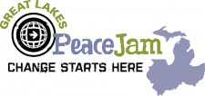 "Great Lakes PeaceJam logo showing the states it encompasses and the words, ""Change starts here."""