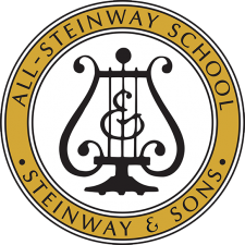 All-Steinway School logo: music lyer surrounded by the words All-Steinway School