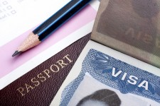 Photo of visa and passport