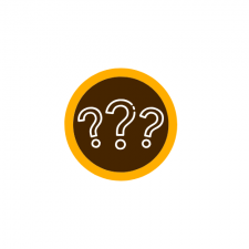This is a decorative image of three question marks in a line.  The question markes are in white outlines on a brown circle with a thin gold circular band around it in the school colors of W M U.