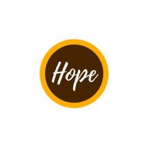 This is a decorative image of the word Hope.  The word hope is in a white handwritten script on a brown circle with a thin gold circular band around it in the school colors of W M U.