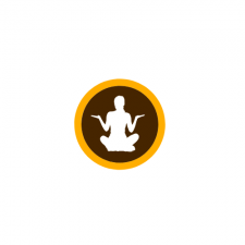 This is a decorative image of a person sitting cross-legged in a medatative pose.  The person is a silouette in white on a brown circle with a thin gold circular band around it in the school colors of W M U.
