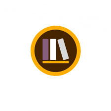 This is a decorative image of three books on a bookshelf.  The books are purple, white, and grey on a gold shelf all on a brown circle with a thin gold circular band around it in the school colors of W M U.