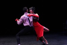 Nirvan Singh and Lynn Zhang perform in Dancing with the WMU/Kazoo Stars